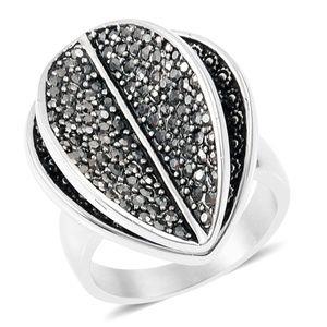 Hematite Black Oxidized Stainless Steel Leaf Ring